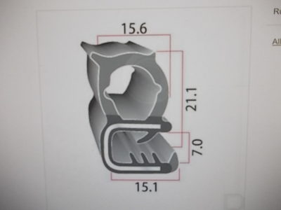 raamrubber 15x25mm